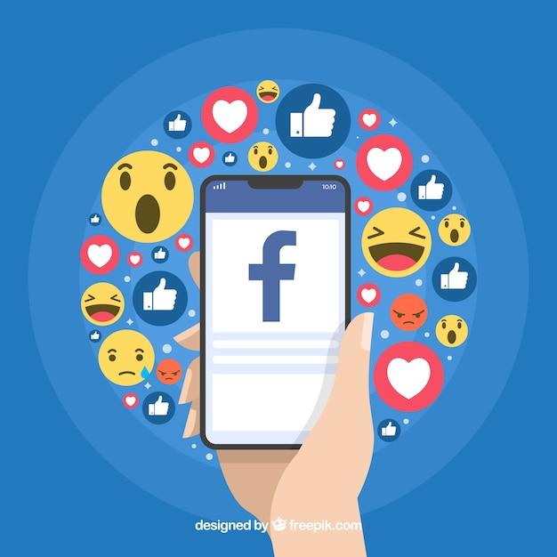 Fundo de ícones do Facebook com design plano Vetor grátis