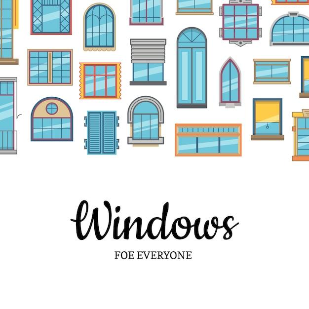 Fundo de ícones plana janela com espaço de cópia Vetor Premium