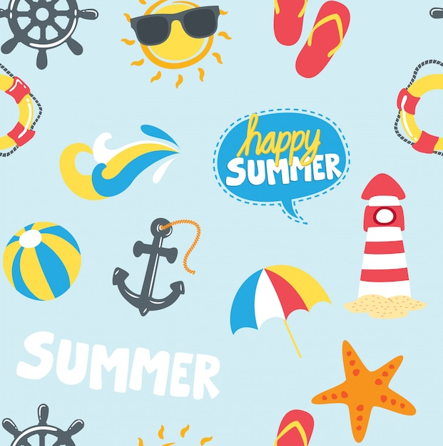 Fundo de ícones temáticos de verão Vetor Premium