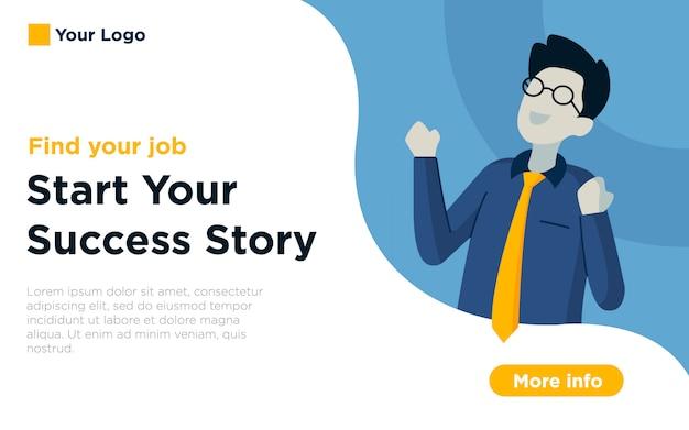 Fundo de ilustração de página de destino de vaga de emprego Vetor Premium