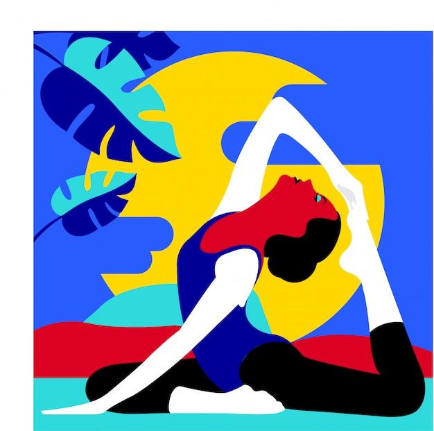 Fundo de ilustração vetorial ioga Vetor Premium