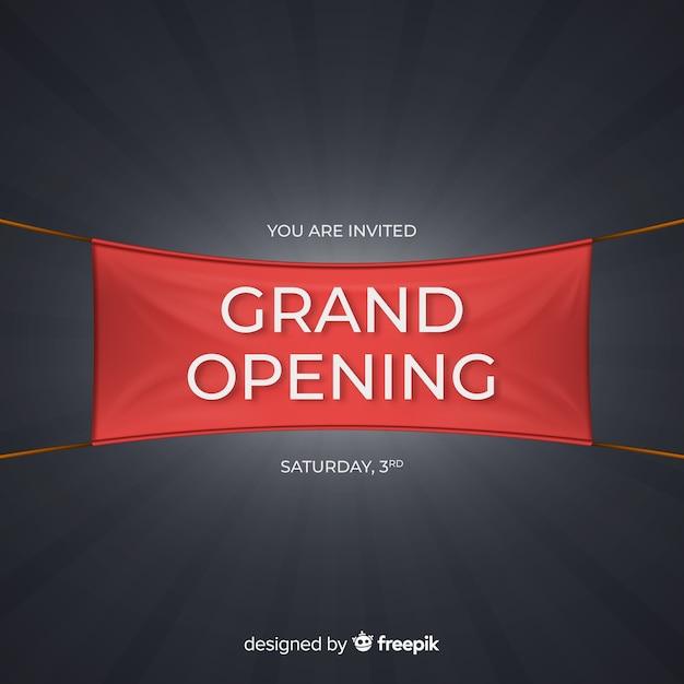 Fundo de inauguração com banner realista Vetor grátis