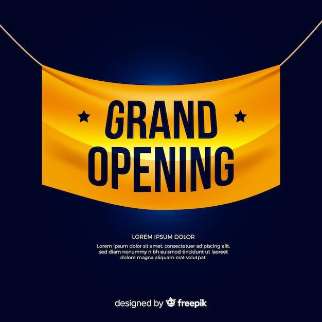 Fundo de inauguração com banner têxtil realista Vetor grátis