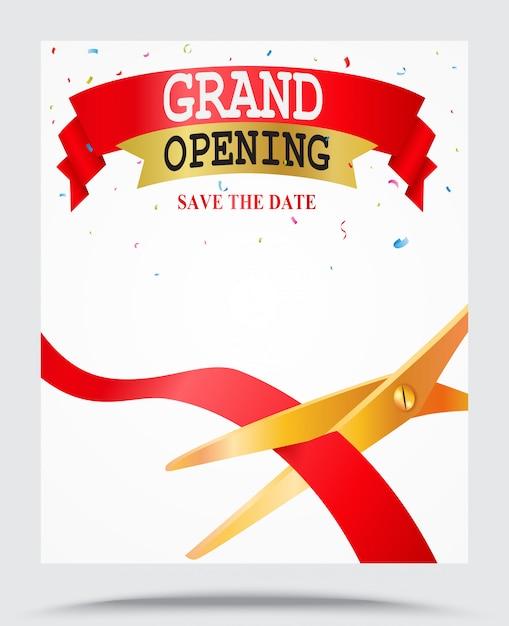 Fundo de inauguração com confete Vetor Premium