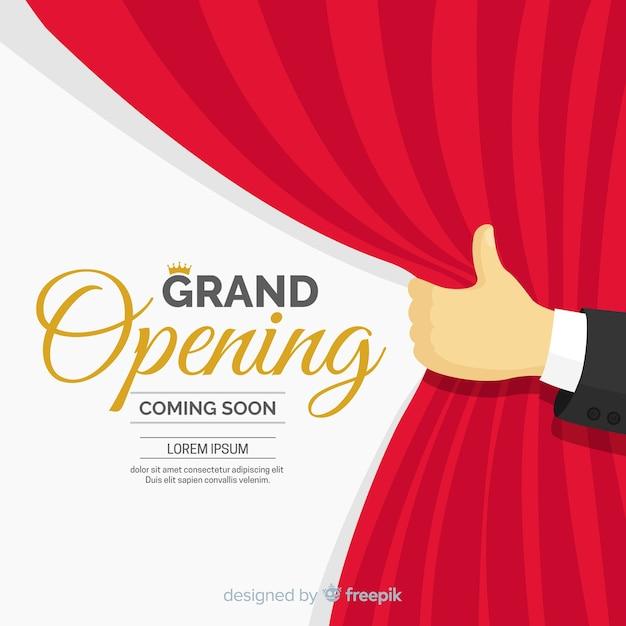 Fundo de inauguração de cortina plana Vetor grátis