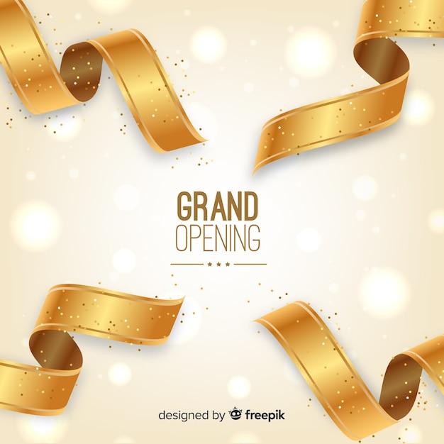 Fundo de inauguração de fita dourada realista Vetor grátis