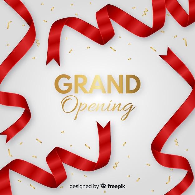 Fundo de inauguração de fita vermelha realista Vetor grátis