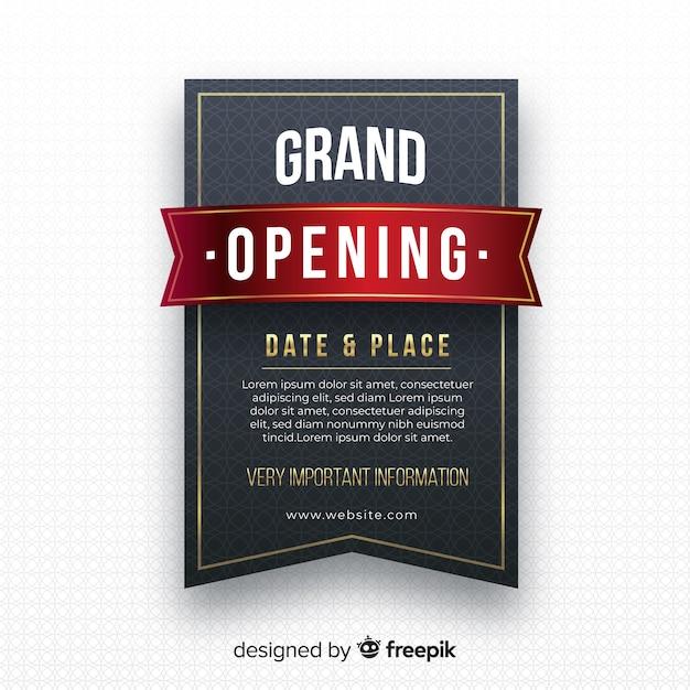 Fundo de inauguração de rótulo preto realista Vetor grátis