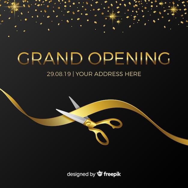 Fundo de inauguração em estilo realista Vetor Premium