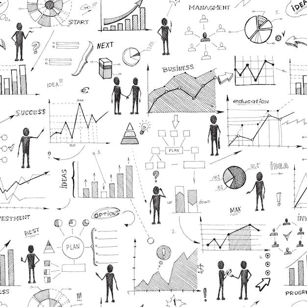 Fundo de infográficos de web sem costura doodle Vetor grátis