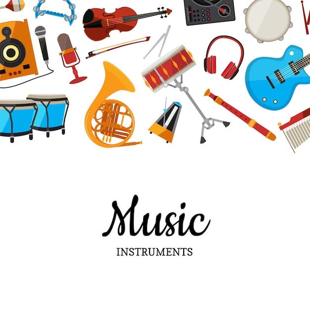 Fundo de instrumentos musicais Vetor Premium