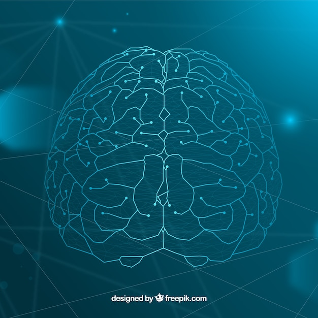 Fundo de inteligência artificial com cérebro Vetor grátis