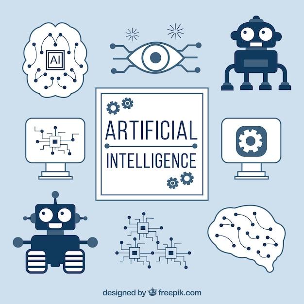 Fundo de inteligência artificial com elementos Vetor grátis
