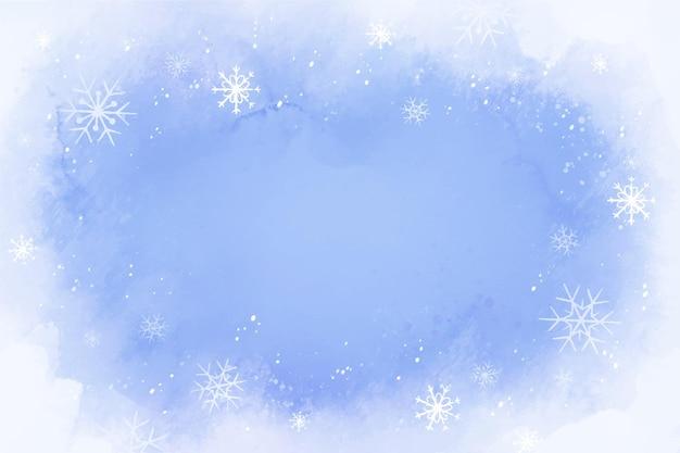 Fundo de inverno aquarela Vetor Premium