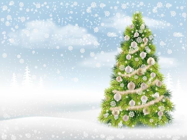 Fundo de inverno com árvore de natal decorada Vetor Premium