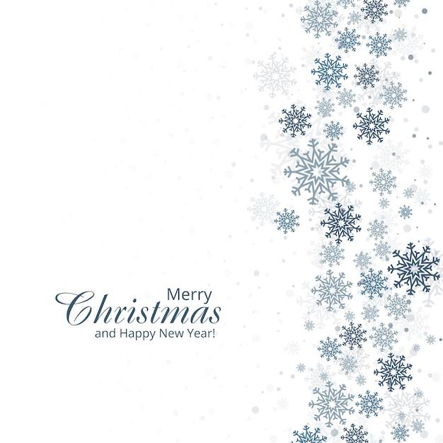 Fundo de inverno com flocos de neve feliz natal cartão d Vetor grátis