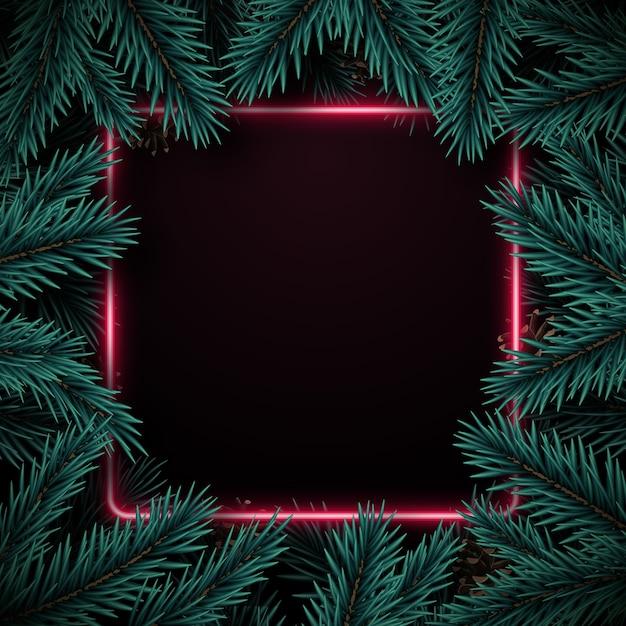 Fundo de inverno com moldura de árvore do abeto realista e espaço para texto. Vetor Premium
