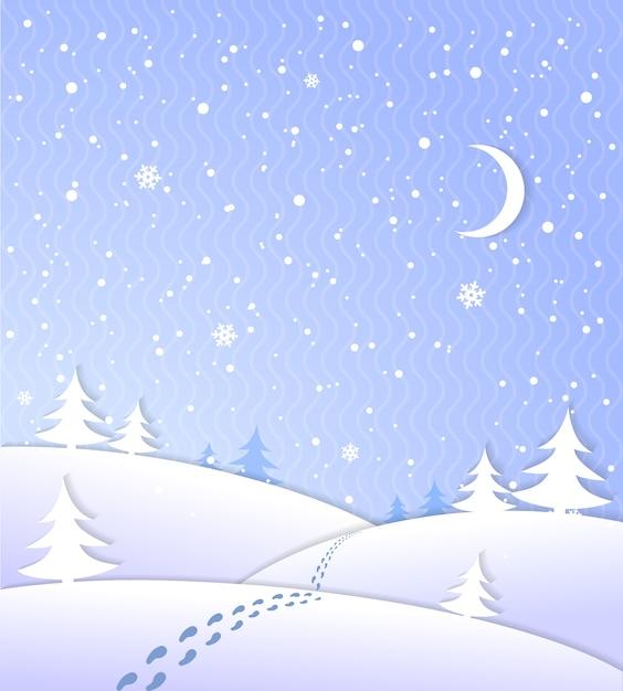 Fundo de inverno com neve caindo Vetor grátis