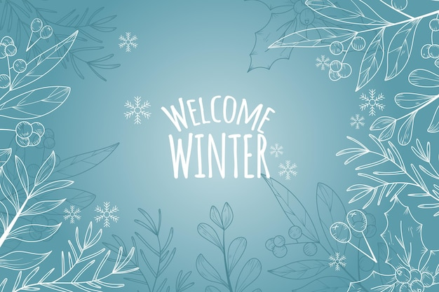 Fundo de inverno com saudação de boas-vindas de inverno Vetor Premium