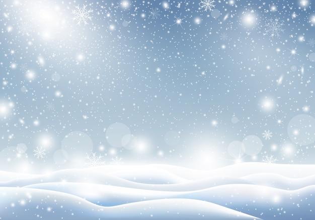 Fundo de inverno de queda de neve design de cartão de natal Vetor Premium