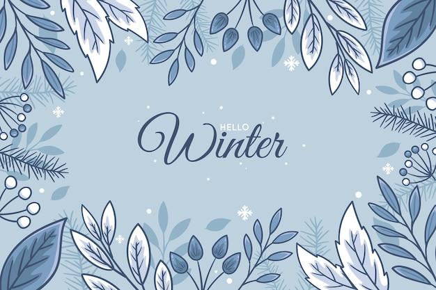 Fundo de inverno desenhado à mão Vetor Premium