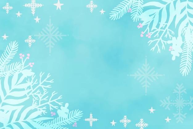 Fundo de inverno feito com aquarela Vetor grátis