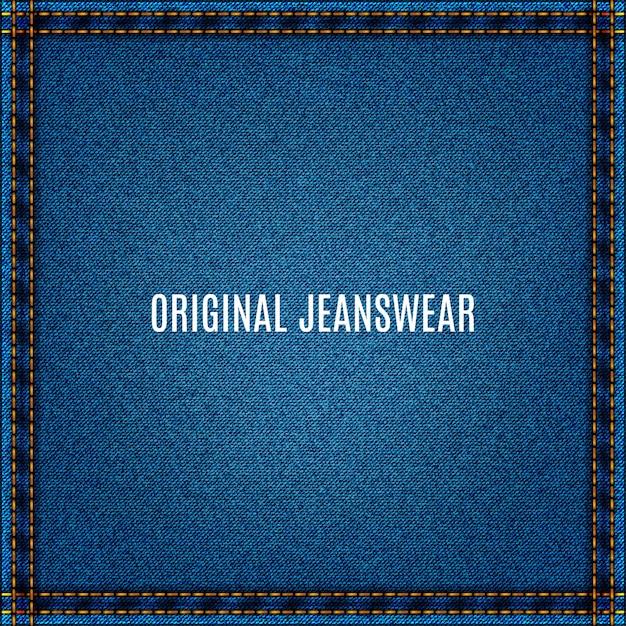 Fundo de jeans de tecido azul com textura jeans e bolso Vetor Premium