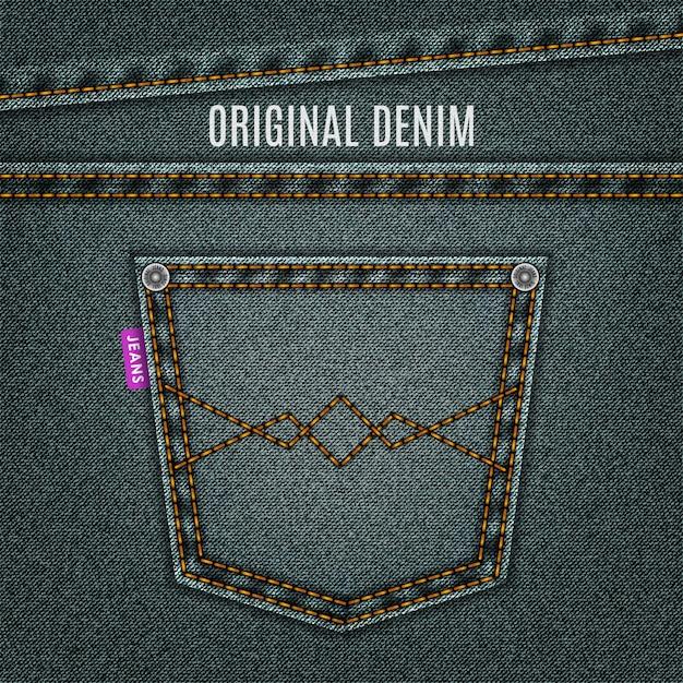 Fundo de jeans de textura de jeans cinza com bolso Vetor Premium
