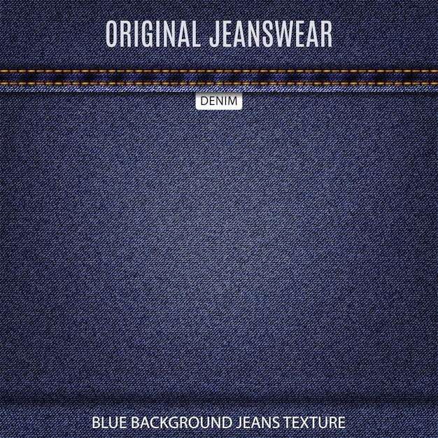 Fundo de jeans de textura de jeans da marinha Vetor Premium