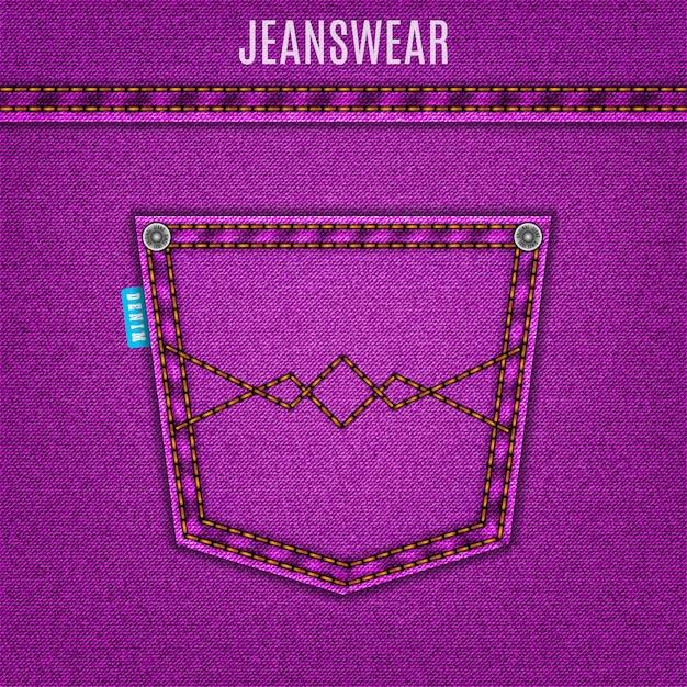 Fundo de jeans de textura de jeans roxo com bolso Vetor Premium