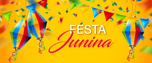 Fundo de junina de festa colorido bonito Vetor Premium
