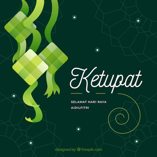Fundo de ketupat em design plano Vetor grátis