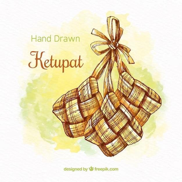 Fundo de ketupat tradicional Vetor grátis