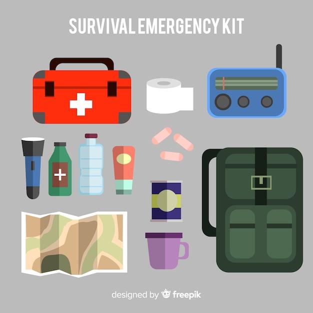 Fundo de kit de emergência de sobrevivência Vetor Premium