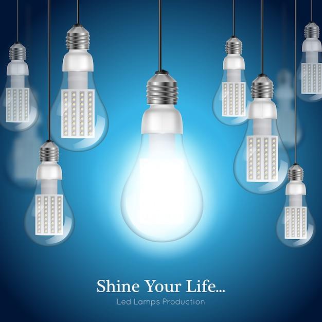 Fundo de lâmpada led Vetor grátis