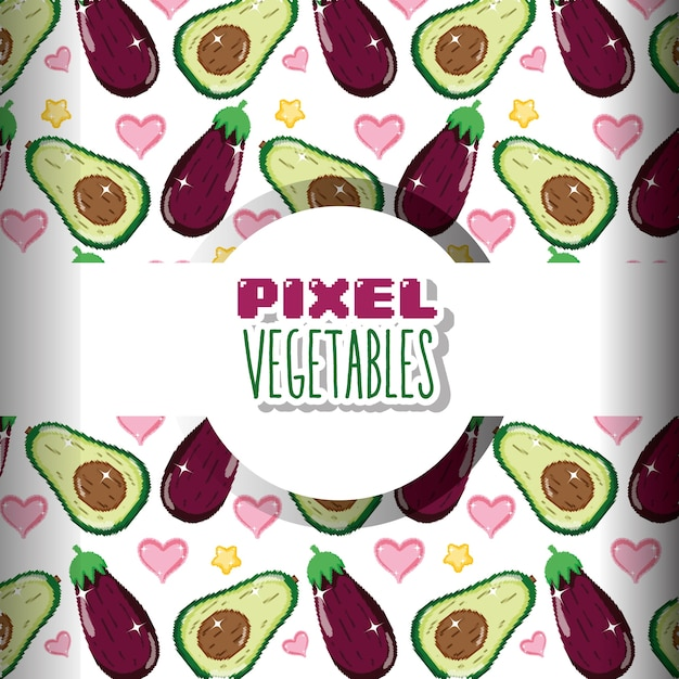 Fundo de legumes de pixel Vetor Premium