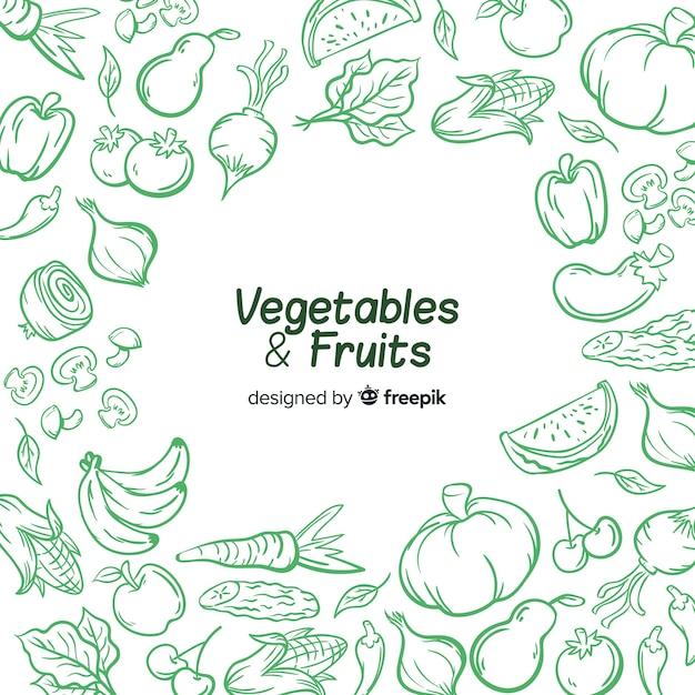 Fundo de legumes e frutas de mão desenhada Vetor Premium