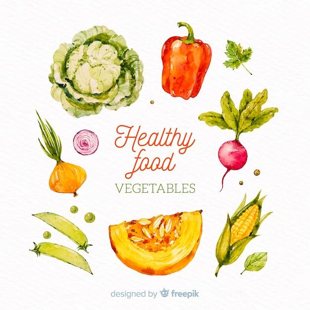 Fundo de legumes e frutas em aquarela Vetor grátis