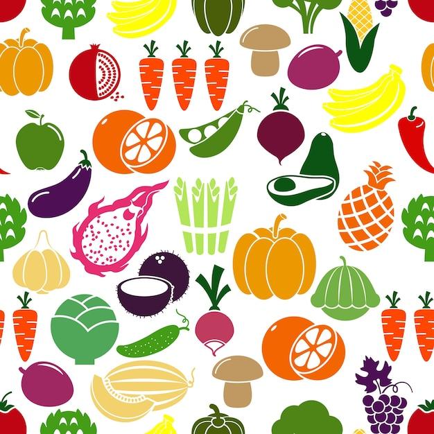 Fundo de legumes e frutas. patison e rabanete, berinjela e romã, ervilhas e repolho. ilustração vetorial Vetor grátis