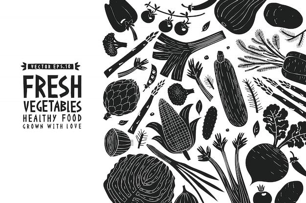 Fundo de legumes. estilo linogravura. comida saudável. Vetor Premium