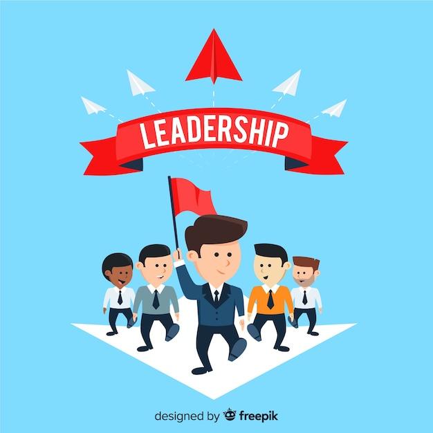 Fundo de liderança em design plano Vetor grátis