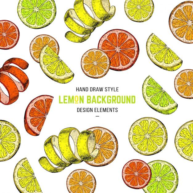 Fundo de limão desenhado a mão Vetor Premium