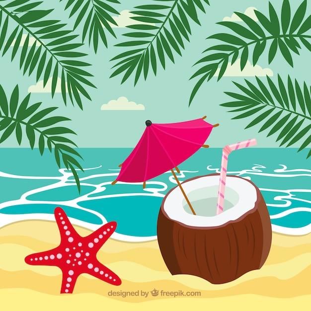 Fundo de linda praia tropical Vetor grátis