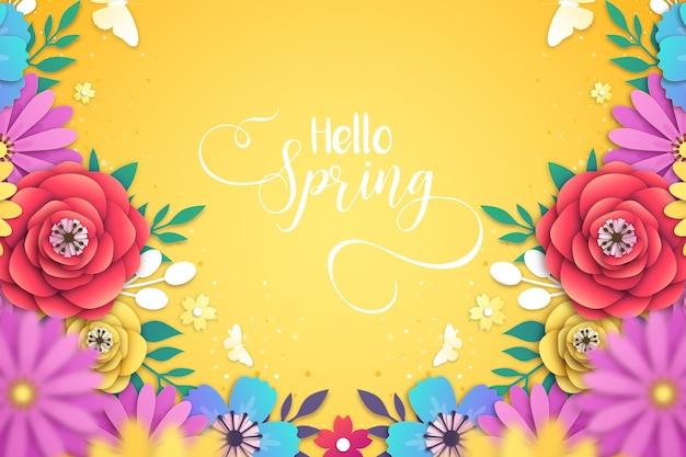 Fundo de linda primavera em estilo de jornal Vetor Premium