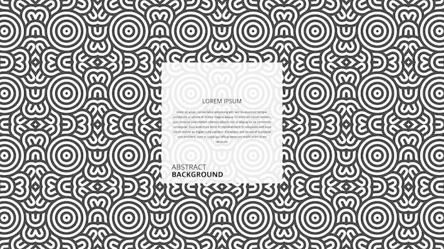 Fundo de linhas curvas decorativas abstratas de forma circular com modelo de texto de amostra Vetor Premium