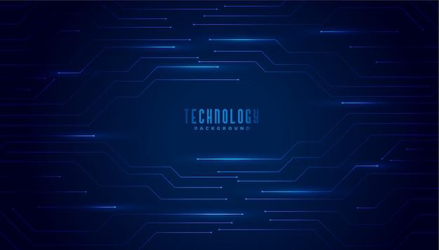 Fundo de linhas de diagrama de circuito de tecnologia azul elegante Vetor grátis