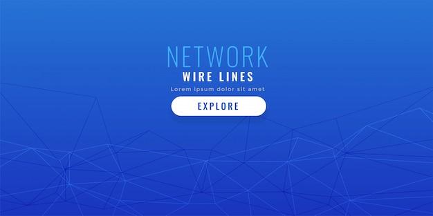 Fundo de linhas de rede elegante azul baixo poli Vetor grátis