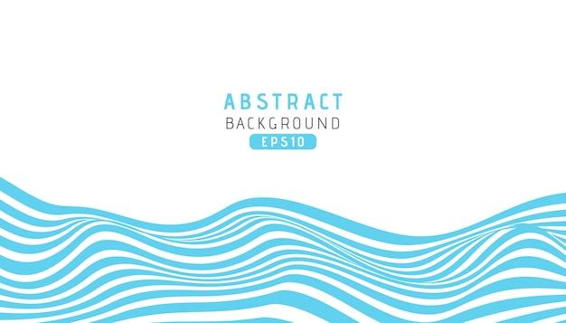 Fundo de listras azuis de onda com estilo de corte de papel Vetor Premium