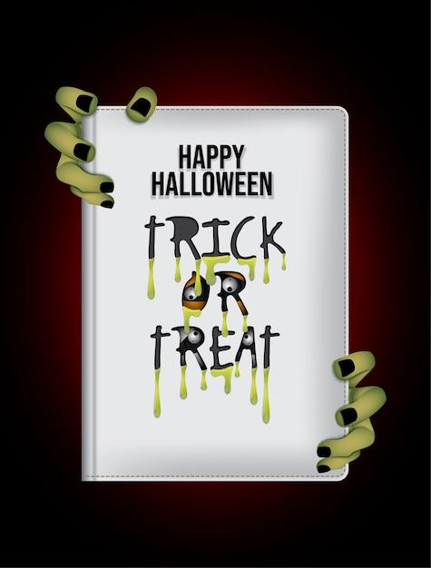 Fundo de livro de noite feliz dia das bruxas. Vetor Premium