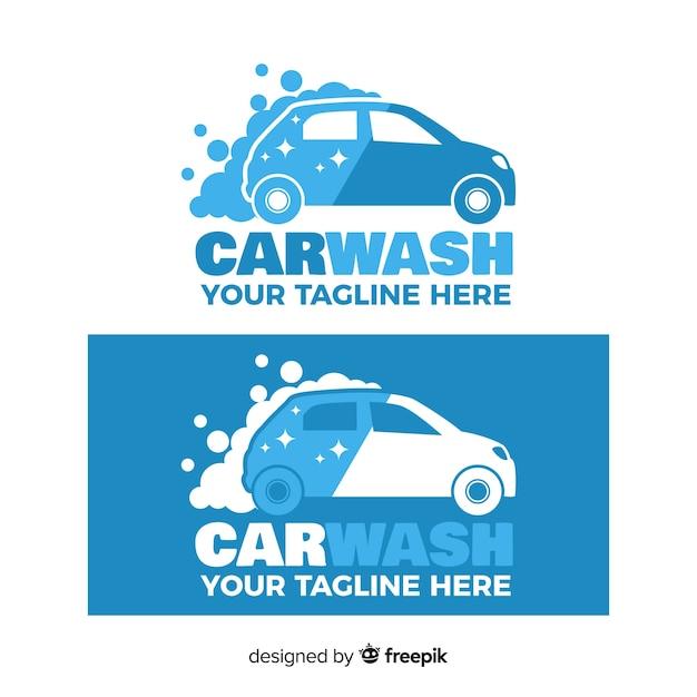 Fundo de logotipo de lavagem de carro liso Vetor grátis